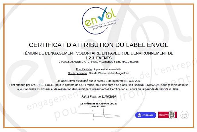 Certificat d'attribution label En Vol